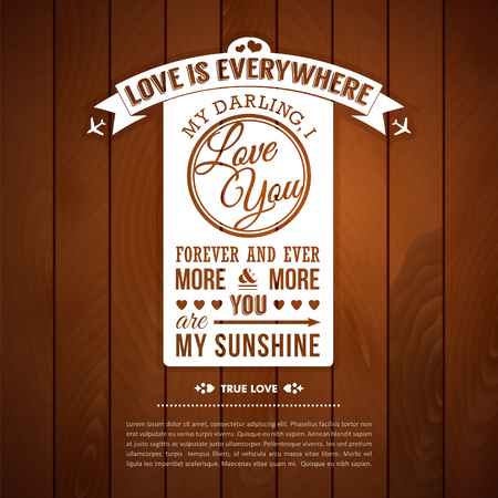 confession: Love you poster in retro style on a wooden Illustration