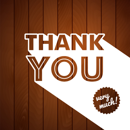 old style lettering: Thank you card with typography on a wooden