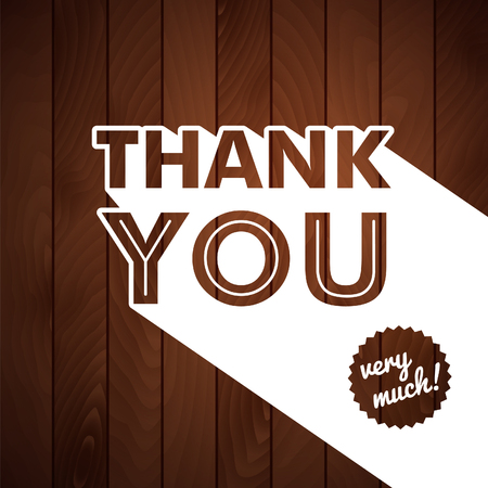 thank you card: Thank you card with typography on a wooden