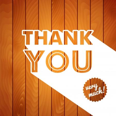 Biglietto di ringraziamento con la tipografia su un legno