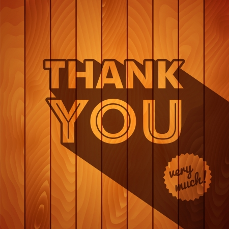 thank you card: Retro thank you poster on a wooden