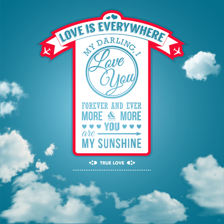 Love you poster in retro style on a summer sky background  Lettering  Vector