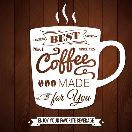 best coffee: Vintage coffee poster on a dark wooden Illustration