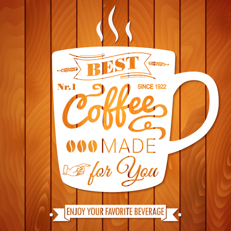 contemporary taste: Vintage coffee poster on a light wooden Illustration