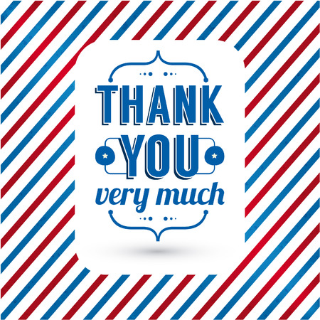 blue you: Thank you card on tricolor grunge background  Gratitude card