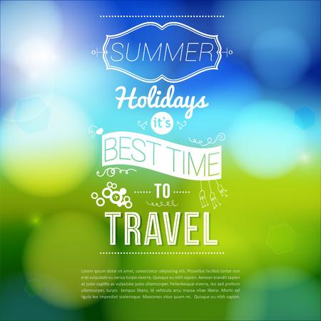summer day: Vacaciones de verano anunciante con efecto borroso