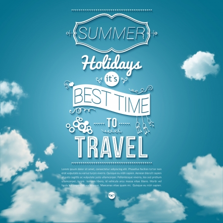 outdoor advertising: Summer holidays poster in cutout paper style  Sunny day  Illustration