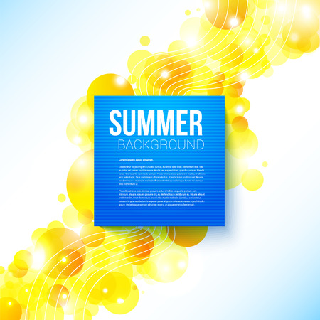 Bright blue summer poster on a shiny cheerful background with place for Your message