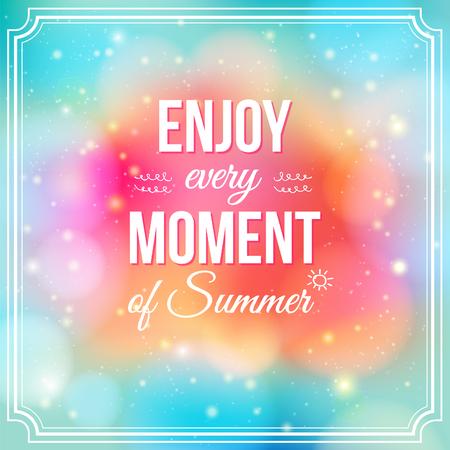 夏季正と明るい輝く空想ポスターの背景のすべての瞬間を楽しむし、一緒にまたは別々 にタイポグラフィを使用ことができます。  イラスト・ベクター素材