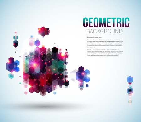 Glossy abstract page layout for Your presentation  Geometric background with hexagons