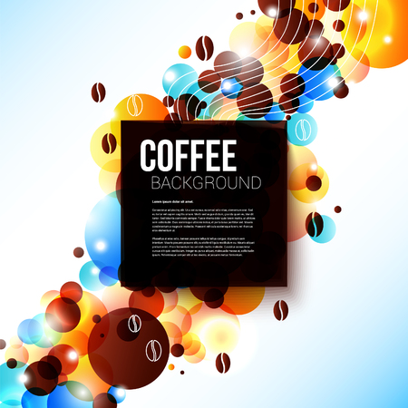 old style lettering: Bright coffee background with flare effect  Nice advertising poster for Your cafeteria