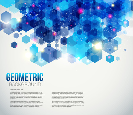 Blue and sparkling page layout for your presentation  Abstract geometric background