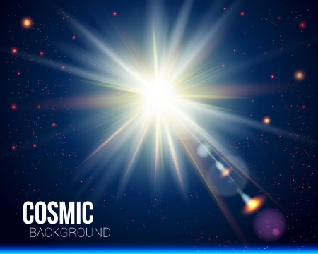 Felle zon barstte Kosmische achtergrond Stock Illustratie