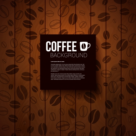 coffee and beans: Dark paper note with place for Your text  Burnt wooden background with coffee beans   Illustration