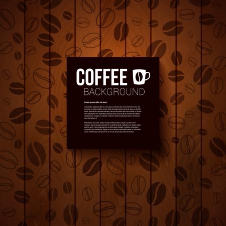 semilla de cafe: Nota de papel oscuro con lugar para el texto Burnt fondo de madera con los granos de café Vectores