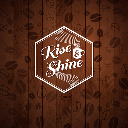 rise and shine: Rise and shine card  Cutout paper style on a wooden background