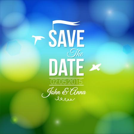 spring out: Guardar la fecha para la invitaci�n personal de la boda de fiesta en un fondo suave encantadora