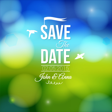 Save the date for personal holiday  Wedding invitation on a lovely soft background  Illustration