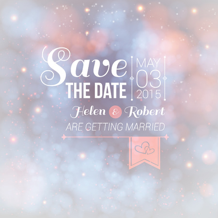 particle: Save the date for personal holiday  Wedding invitation on a lovely soft background  Illustration