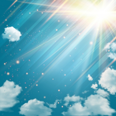 Magic sky with shining stars and rays of light  Blue sky with clouds background  Vector
