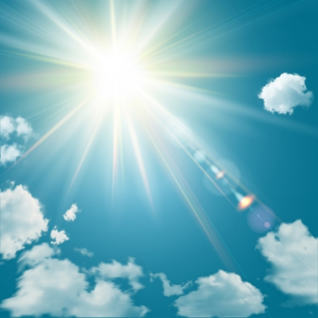 Realistic shining sun with lens flare  Blue sky with clouds background