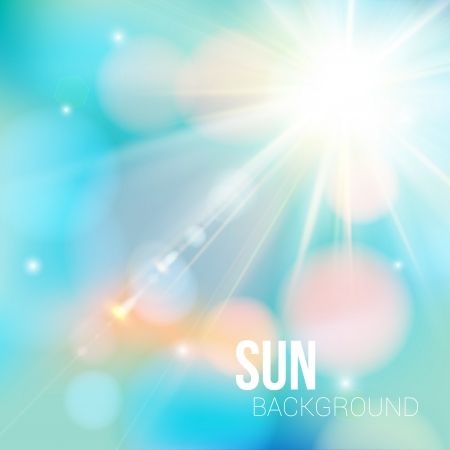 sun flare: Bright shining sun with lens flare  Soft background