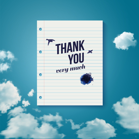 you are welcome: Thank you card for different occasions  Note paper with lettering on a sky background