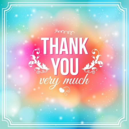 thank you cards: Thank you card on soft colorful background  Gratitude card for different occasions