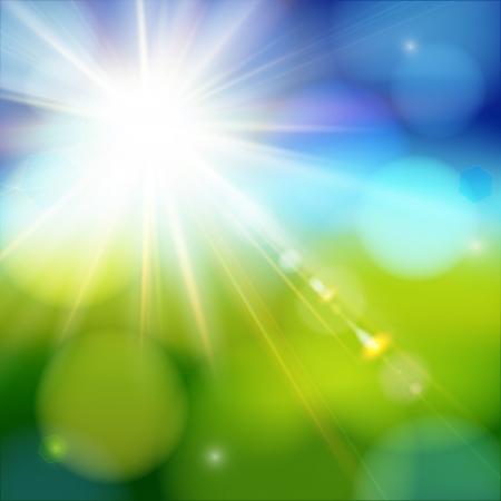 energia solar: El brillo del sol que brilla con destello de lente suave de fondo