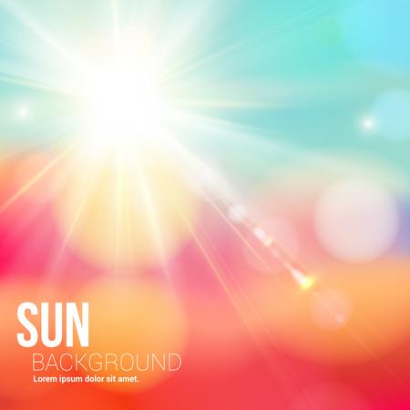 sol: Brillante sol que brilla con destello de lente suave de fondo