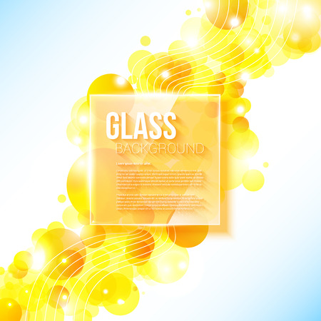 glass panel: Shiny yellow geometric background with glass panel  Vector image   Illustration