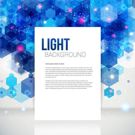 White page layout for Your business presentation, blue backdrop  Abstract geometric background with glitter  Vector image Reklamní fotografie - 22748686