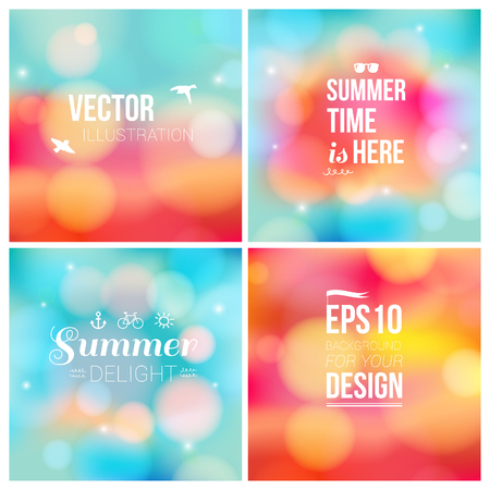 Set of soft blurry backgrounds with bokeh effect  Vector illustration