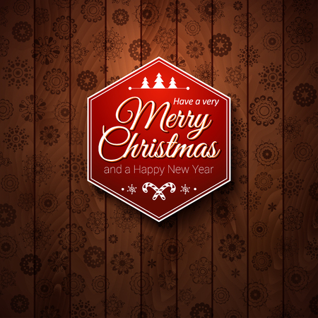holiday card: Typographic label Merry Christmas and Happy New Year  Use it for Your winter holidays design  Vector illustration