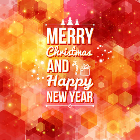 Merry Christmas and Happy new year card  Holiday background and lettering can be easily used together or separately  Vector illustration   Illusztráció