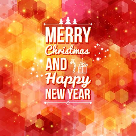 Vrolijk Kerstfeest en Gelukkig nieuw jaar kaart Holiday achtergrond en belettering kan gemakkelijk samen of afzonderlijk worden gebruikt Vector illustratie Stock Illustratie