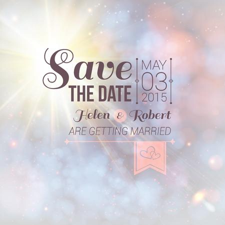 Save the date pour l'invitation personnelle de mariage de vacances sur une belle image douce de vecteur de fond