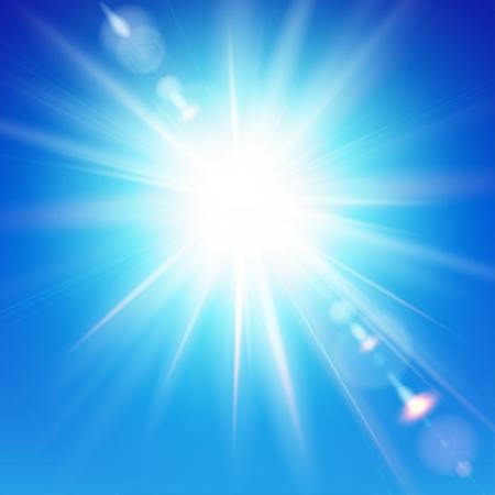 De felle zon schijnt op een blauwe hemel achtergrond Vector illustratie met lens flare effect