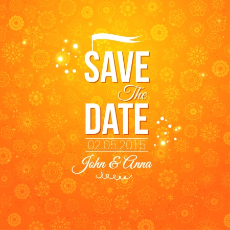 Save the date for personal holiday  Wedding invitation  Vector image   Illustration