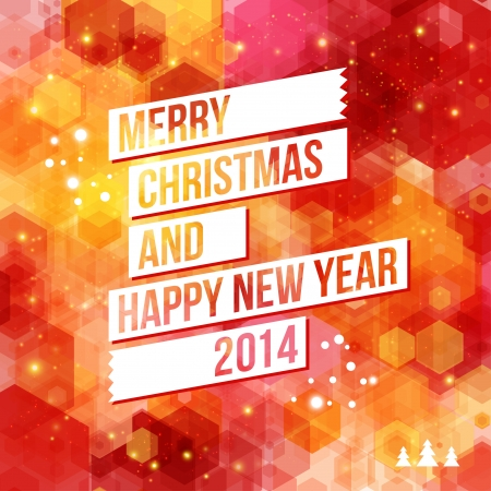 Merry Christmas and Happy New Year 2014 card  White ribbon, red background  Vector image   Stock Vector - 22773531
