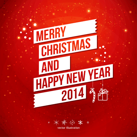 new year party: Merry Christmas and Happy New Year 2014 card  White ribbon, red background  Vector image