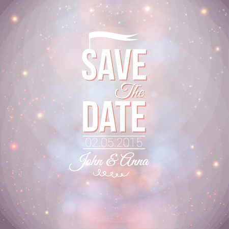outdoor wedding: Save the date for personal holiday  Wedding invitation on a lovely soft background  Vector image