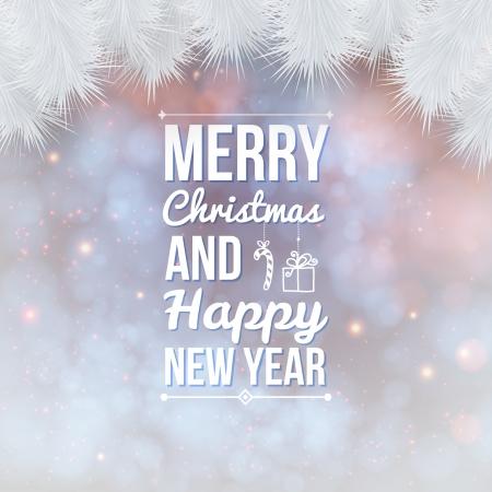 Vrolijk Kerstfeest en Gelukkig Nieuwjaar kaart Holiday achtergrond en belettering kan gemakkelijk samen of afzonderlijk Vector illustratie worden gebruikt Stock Illustratie