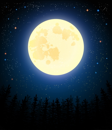 Full moon shines on a pine forest. Retro vector illustration.