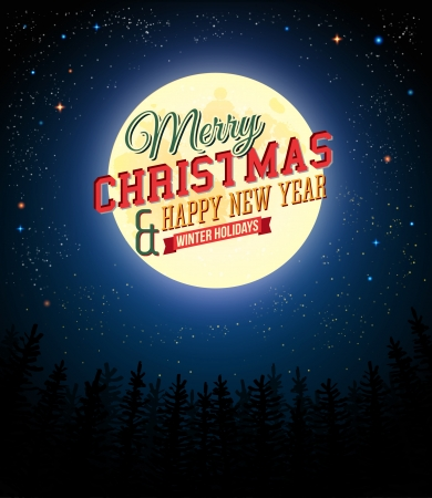 Merry Christmas and Happy New Year retro poster  Full moon shines over pine forest  Vector illustration   Ilustrace