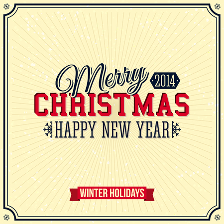 Vintage Merry Christmas and Happy New Year card  Lettering style  Vector illustration Stock Vector - 23102130