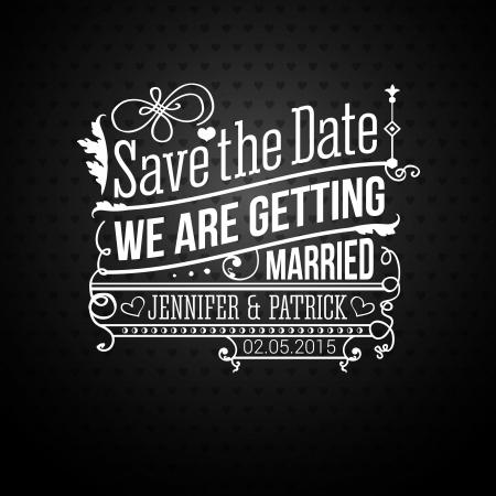bröllop: Spara datumet för personlig semester. Bröllop inbjudan.