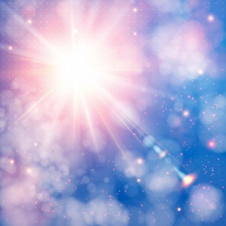 Stralende zon met lens flare. Zachte achtergrond met bokeh effect. Stock Illustratie