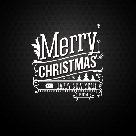 Christmas greeting card. Merry Christmas lettering in vintage style. Illustration