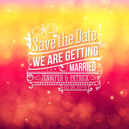 Sparen de datum voor persoonlijke vakantie. Uitnodiging van het huwelijk. Vector illustratie.